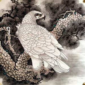 谷风国画作品《白毛鹰》价格800.00元