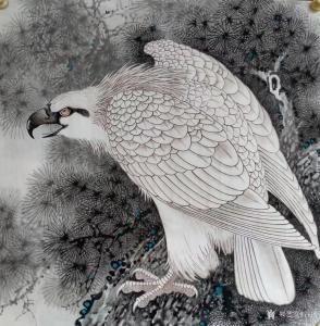 谷风国画作品《白毛鹰2》价格800.00元