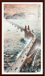 周顺生国画作品-《定制南京长江大桥》