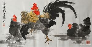 傅饶国画作品《鸡-合家欢》议价