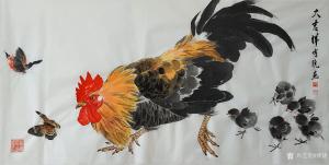 傅饶国画作品《鸡-大吉祥》议价