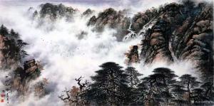 罗树辉国画作品《山水画-云岭松涛》议价