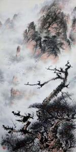 罗树辉国画作品《山水画松树-龙啸》议价