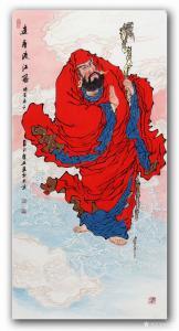 吴进海国画作品-《达摩渡江图》