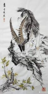 傅饶国画作品《动物山羊-吉》议价