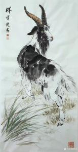 傅饶国画作品《动物山羊-祥》议价