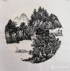 陈利波国画作品-《泛舟2》