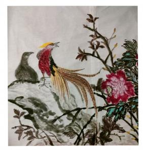 雅涵国画作品-《紫气东来前程似锦》