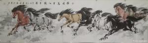 刘建国国画作品-《马-雄风万里八骏呈祥》