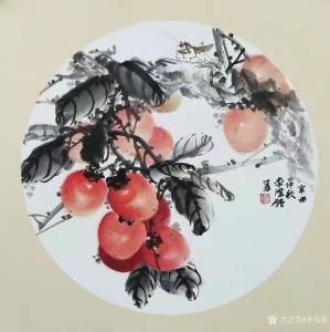 李伟强国画《花鸟-(柿)事事如意》