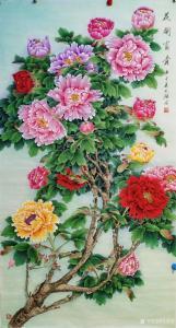 吴进海国画作品-《花开富贵》