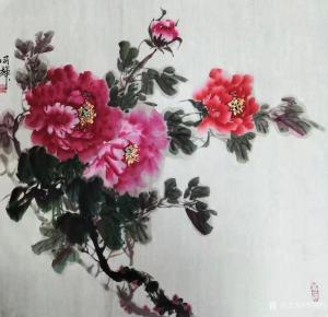 李同辉国画作品-《花鸟-牡丹花》