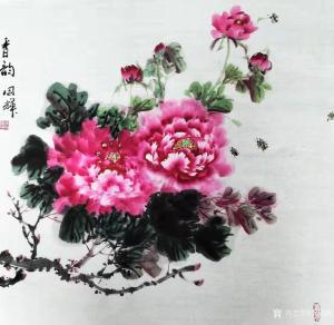 李同辉国画作品-《花鸟牡丹-香韵》