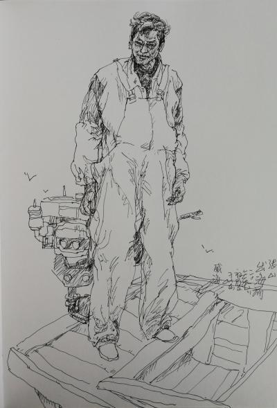 赵国毅日记-近日带人民大学画院学生在山东威海成山头渔场画写坐【图1】