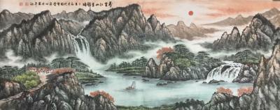 张怀林日记-风水山水画、鸿运当头、财源滚滚、左右逢源、一帆风顺【图1】