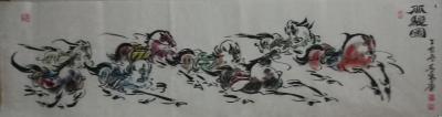 王东帝日记-来他个三幅精品之作~国画《八骏图》——小六尺(180*70),六尺条子,(180【图1】