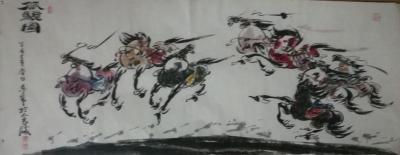 王东帝日记-来他个三幅精品之作~国画《八骏图》——小六尺(180*70),六尺条子,(180【图2】