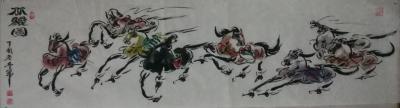 王东帝日记-来他个三幅精品之作~国画《八骏图》——小六尺(180*70),六尺条子,(180【图4】