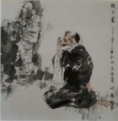 赵国毅日记-国画人物《江南雨》《拜石图》,赵国毅小品【图2】