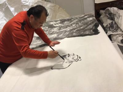周鹏飞日记-国画《尼山颂圣图》吾历时半年创作完成:尺寸36米X5、5米   ,周鹏飞【图1】