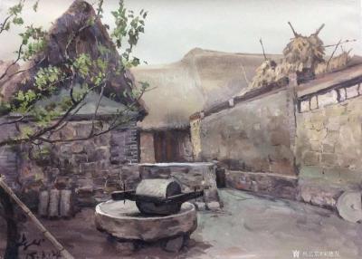 宋德发收藏-油画《乡院》,儿时的回忆,满满的乡情。 宋德发【图1】