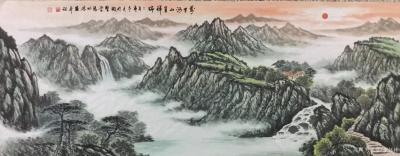 张怀林日记-刚刚完成的旭日东升鸿运当头系列:万里河山呈祥瑞。(小六尺:70 X180 ) 【图1】