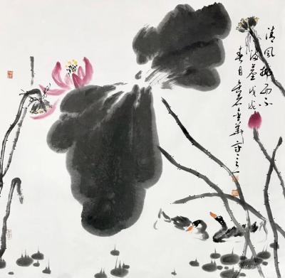 曹金华日记-曹金华国画,《清风拂面》,69×69cm【图1】