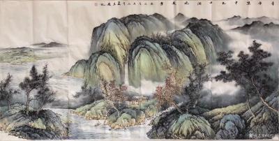 胡坚谋日记-四尺精品山水现货,胡坚谋国画【图2】