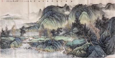 胡坚谋日记-四尺精品山水现货,胡坚谋国画【图3】
