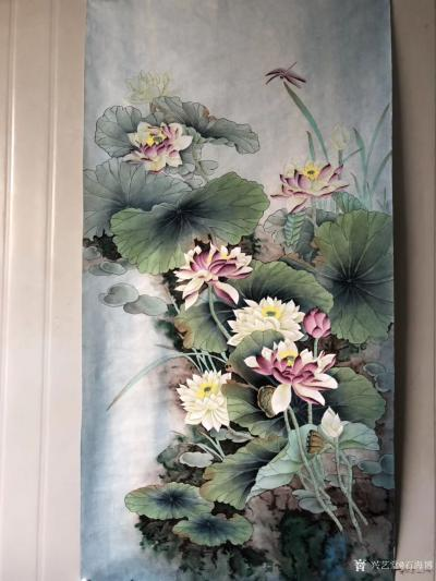 石海博日记-工笔画荷花系列作品3幅,四尺整张,已售,喜欢可订制。【图1】