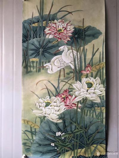 石海博日记-工笔画荷花系列作品3幅,四尺整张,已售,喜欢可订制。【图2】