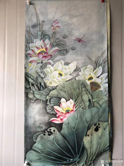 石海博日记-工笔画荷花系列作品3幅,四尺整张,已售,喜欢可订制。【图3】