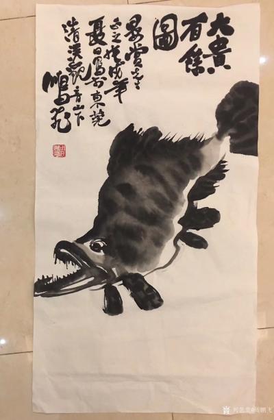 周鹏飞日记-昨天在广东东莞食荔枝、乘兴作此《大贵百余图》,《大吉大利图》二图、以志纪遊。今日【图1】