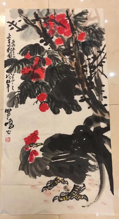 周鹏飞日记-昨天在广东东莞食荔枝、乘兴作此《大贵百余图》,《大吉大利图》二图、以志纪遊。今日【图2】