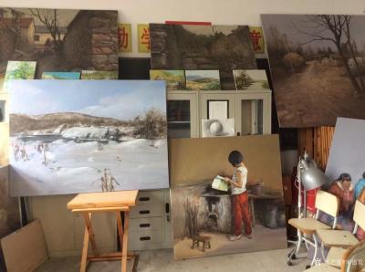宋德发日记-新完成的两幅油画《雪原》,《晨读》,存储到兴艺空间【图3】