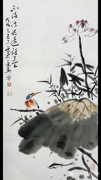 曹金华日记-清新写意国画荷花系列作品,尺寸69*34cm,【图1】