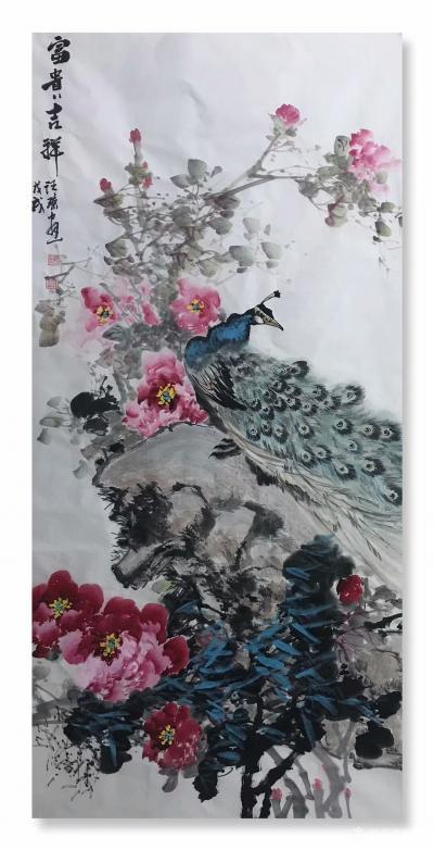 汪琼日记-新画的国画花鸟画《富贵吉祥》,《紫气东来》,《晨曲》,四尺整张三幅,尺寸68*1【图1】