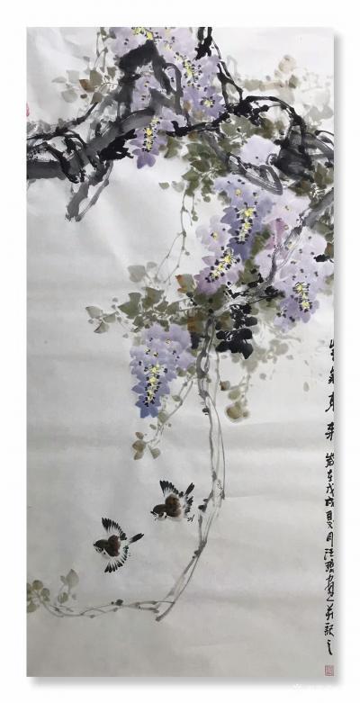汪琼日记-新画的国画花鸟画《富贵吉祥》,《紫气东来》,《晨曲》,四尺整张三幅,尺寸68*1【图2】