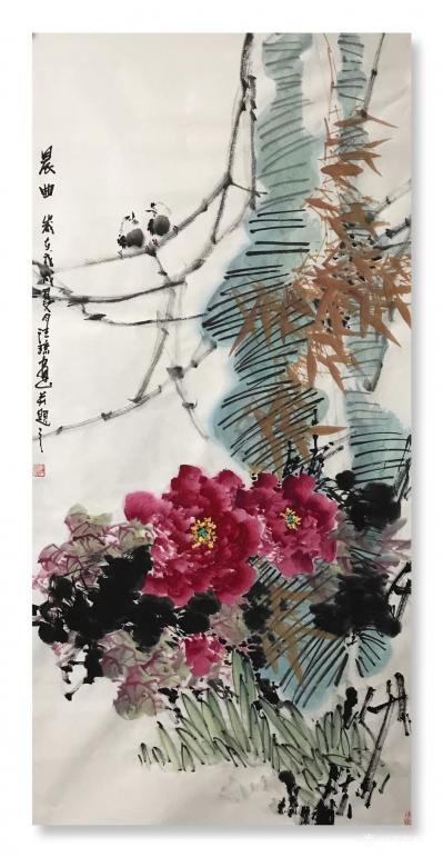 汪琼日记-新画的国画花鸟画《富贵吉祥》,《紫气东来》,《晨曲》,四尺整张三幅,尺寸68*1【图3】
