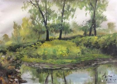 宋德发日记-水粉画小树林写生系列作品5幅,展示大自然的法则【图5】