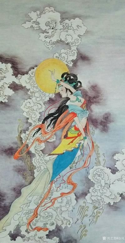 谷风日记-《飞仙图》国画人物画新作,尺寸68*138cm,喜欢的可订制。【图1】