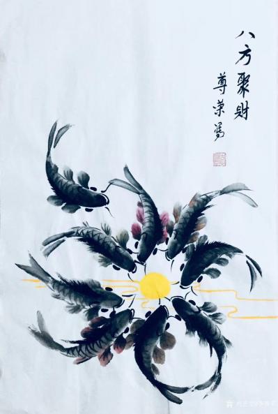 李尊荣日记-近作分享《八方聚财》《探索》《连年有余》,国画花鸟鱼类,尺寸60x60cm,68【图1】