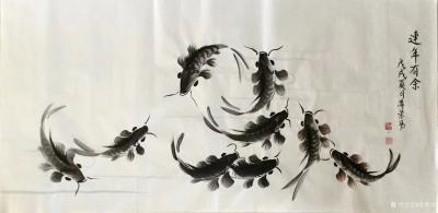 李尊荣日记-近作分享《八方聚财》《探索》《连年有余》,国画花鸟鱼类,尺寸60x60cm,68【图2】