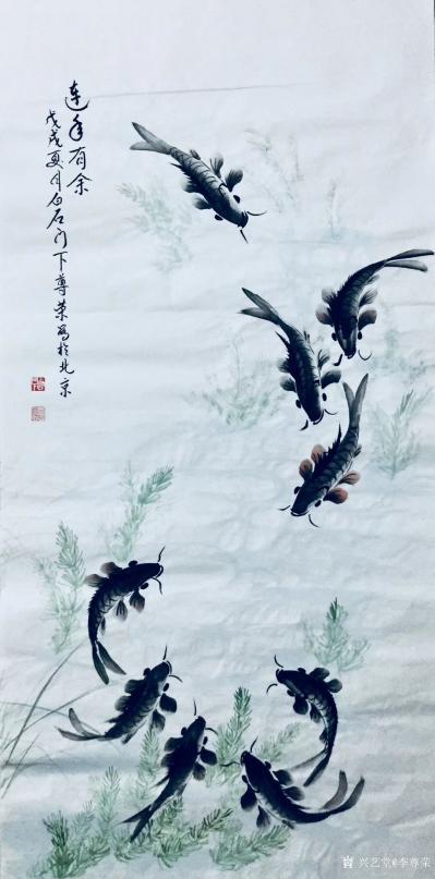 李尊荣日记-近作分享《八方聚财》《探索》《连年有余》,国画花鸟鱼类,尺寸60x60cm,68【图4】