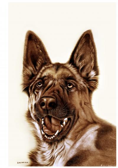 田玉田视频-<br>8月22日完成的烙画新作《神犬》,尺寸60X80cm,分享绘制过程视频,【图1】