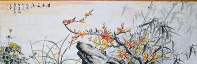 苏进春日记-近期作品:《室静兰香》50x100Cm,作品《鸿运当头》50x100Cm,作品《【图3】