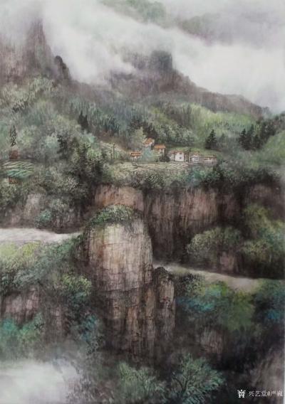严巍日记-原创作品《云翳大山》60x80cm,《终南人家》68x138cm,国画山水画,【图1】
