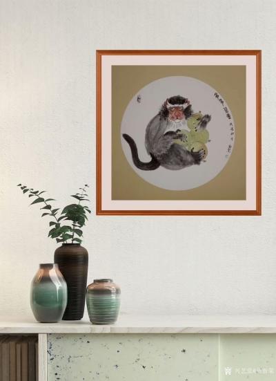 马新荣日记-《多多益善》,国画新作,猴子护桃图,尺寸68x68厘米,【图2】