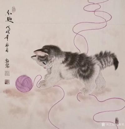 马新荣日记-工笔动物画《秋趣》,可爱猫咪送到家,萌宠平添乐趣,祝福朋友们国庆节快乐,全家幸福【图1】
