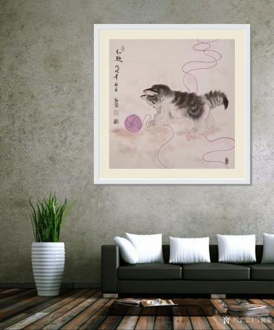 马新荣日记-工笔动物画《秋趣》,可爱猫咪送到家,萌宠平添乐趣,祝福朋友们国庆节快乐,全家幸福【图2】